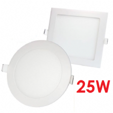 25W RECESSED LED PANELS ROUND AND SQUARE